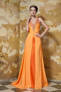 Orange V-neck Beading Prom Evening Dress Train Chiffon