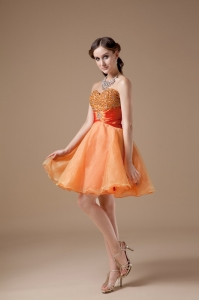 Beading Cocktail Holiday Dresses Orange Red Ruch Sash