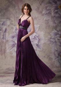 Purple Pleat Prom Evening Dress Spaghetti Straps Beaded