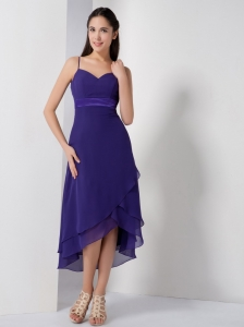 Purple Spaghetti Straps High-low Quinceanera Dama Dress