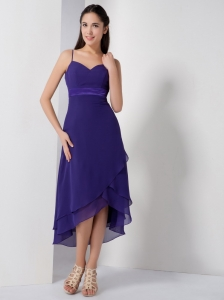 Purple Spaghetti Straps High-low Dama Dresses for Quince