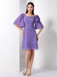 Square Cap Sleeves Purple Dama Dresses for Quinceanera