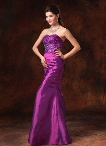 Mermaid Beaded Formal Celebrity Evening Dresses Purple