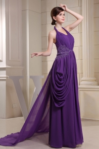 Appliques Prom Evening Dresses Ruched Halter Purple