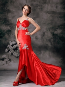 Appliques High-low Prom Celebrity Dresses Red Straps