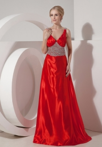 V-neck Beaded Evening Celebrity Dress Red Brush Train