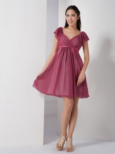 V-neck Ruch Quinceanera Dama Dresses Red Cap Sleeves