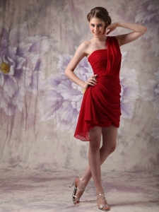 Ruched One Shoulder Red Cocktail Homecoming Dresses