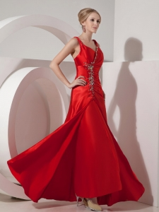 Straps Beading Evening Pageant Dresses Red Ruching