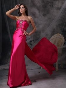 Hot Pink Beading Ruch Celebrity Pageant Dresses Train