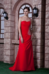 Beading One Shoulder Train Prom Celebrity Dress Red
