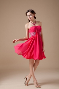 Mini-length Beaded Cocktail Holiday Dresses Coral Red