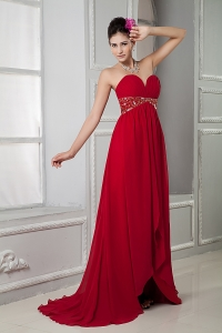 Beaded Homecoming Prom Dress Red Ruch Brush Train