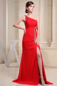 Red High Slit One Shoulder Prom Celebrity Dress Beaded