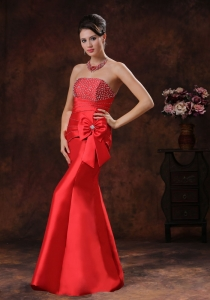 Mermaid Bowknot Celebrity Evening Dresses Red Beaded