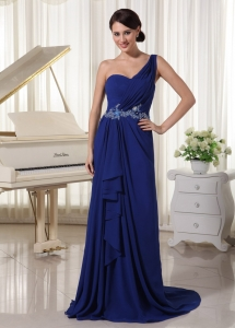 Appliques One Shoulder Evening Pageant Dress Royal Blue