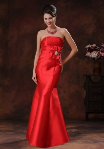 Red Mermaid Celebrity Evening Dresses Beaded Bowknot