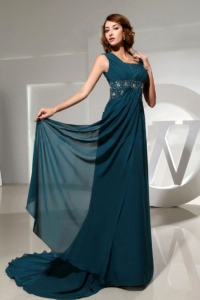 Square Peacock Green Prom Homecoming Dress Beaded Train