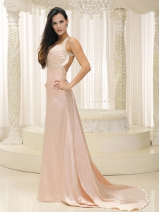 Straps Baby Pink Prom Evening Dress Ruched Train