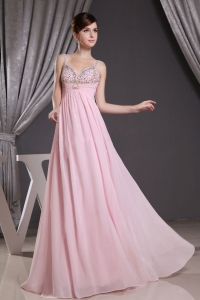 Baby Pink Beaded Straps Prom Graduation Dresses