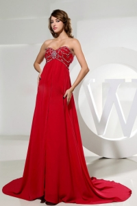 Sweetheart Beaded Red Prom Celebrity Dress Ruch Train