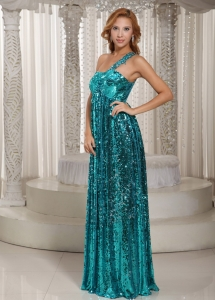 Paillette One Shoulder Teal Celebrity Evening Dresses