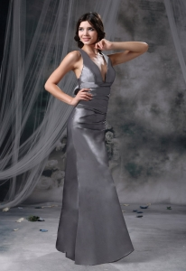 V-neck Grey Criss Cross Bowknot Prom Evening Dresses