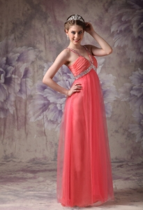 Watemelon V-neck Prom Evening Dresses Beaded Tulle