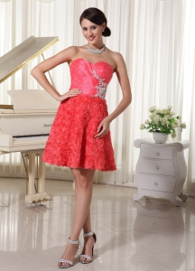 Rolling Flowers Appliques Cocktail Homecoming Dress Watermelon