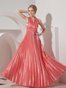 Pleated Halter Evening Pageant Dresses Watermelon Red