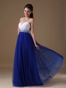 White and Blue Sweetheart Beading Prom Holiday Dress