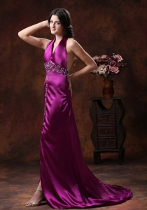 High Slit Haler Prom Evening Dress Fuchsia Beadings