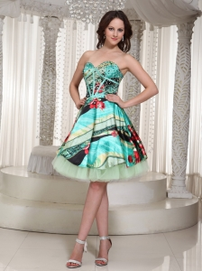 Printing Sweetheart Homecoming Dress Mini-length Beading