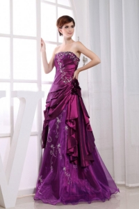 Embroidery Flowers Prom Homecoming Dresses Purple Taffeta