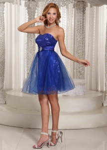 Sequins Peacock Blue Prom Homecoming Dress Beaded Sash