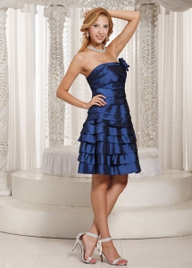 Ruched Layered Prom Homecoming Dress Navy Blue Taffeta