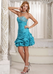 Beaded Pick-ups Prom Homecoming Dress Teal Taffeta