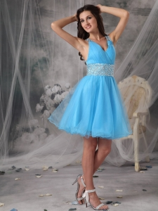 Aqua Blue V-neck Beading Cocktail Homecoming Dresses