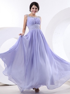 Beaded Bateau Lilac Ruching Prom Graduation Dress
