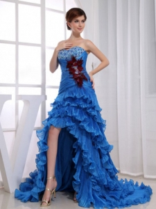 High-low Ruffled Layers Beading Prom Dress Royal Blue