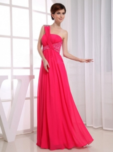Beading One Shoulder Prom Homecoming Dresses Hot Pink