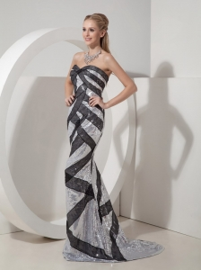 Sequin Mermaid Celebrity Evening Dresses Black and Silver