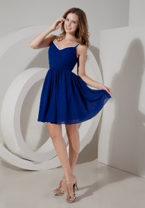 Ruch Spaghetti Straps Blue Damas Dresses for Quinceanera