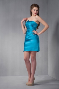Taffeta Ruch Prom Homecoming Dress Mini-length Teal Blue