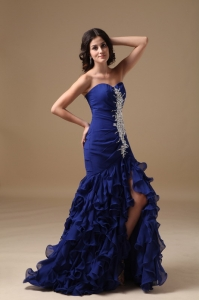 Mermaid Royal Blue Celebrity Pageant Dresses Beaded Ruffles