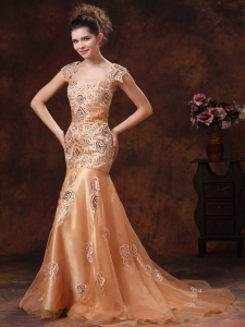 Embroidery Square Orange Celebrity Pageant Dresses Chocolate