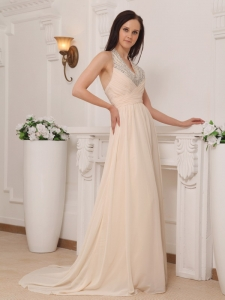 Champagne Halter Beaded Celebrity Evening Dresses Train