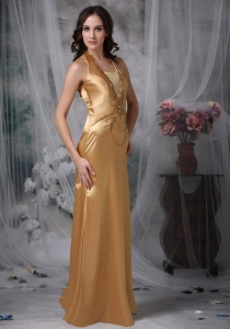Gold Halter Satin Beaded Appliques Evening Celebrity Dress