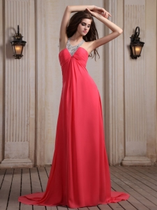 Coral Red Beaded V-neck Prom Homecoming Dress Court Train