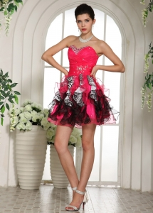 Crystal Printing Ruffles Prom Homecoming Dresses Ruch